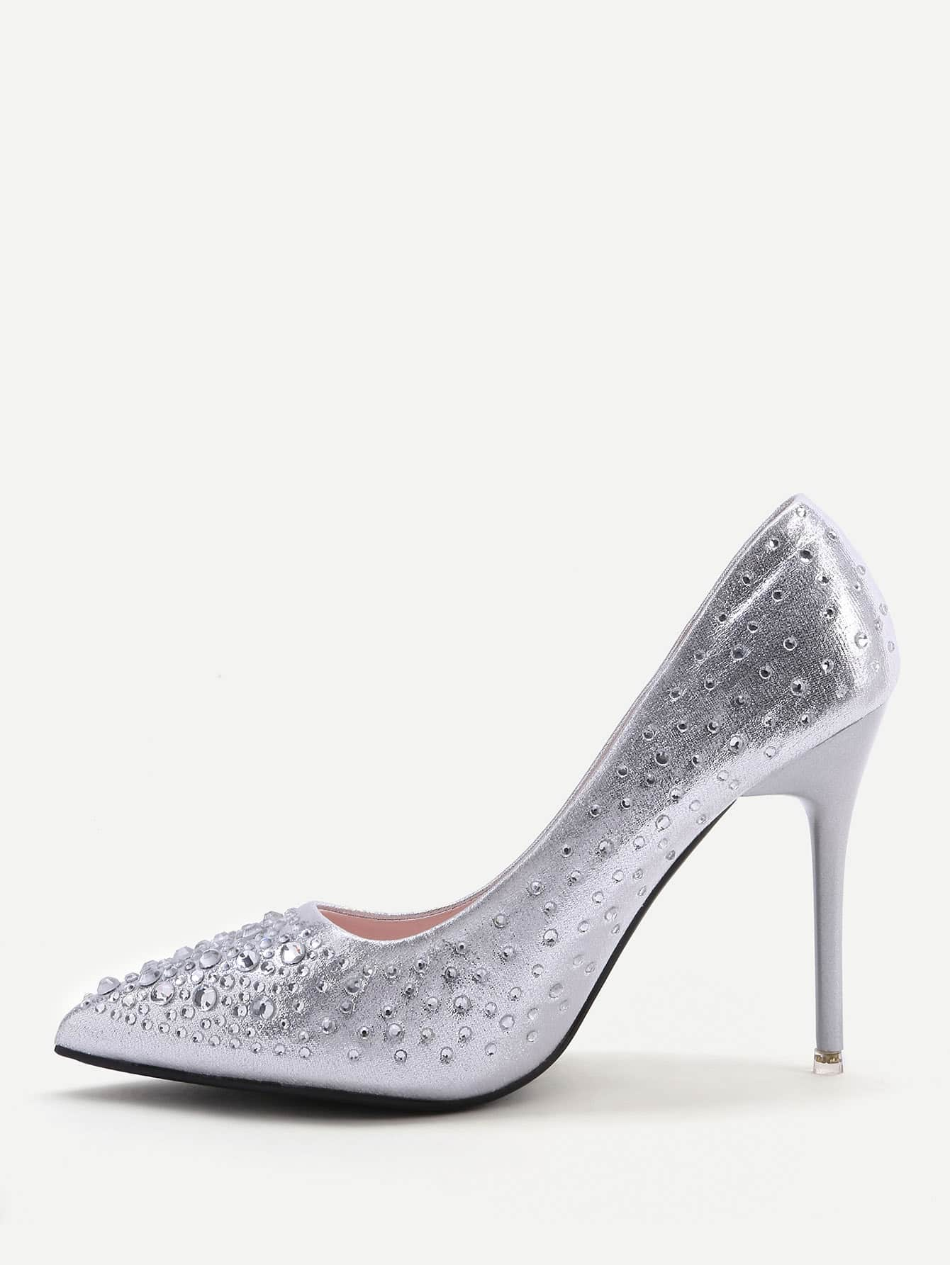 Фото Silver Crystal Detail Point Toe High Heels. Купить с доставкой