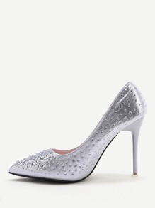 Silver Crystal Detail Point Toe High Heels