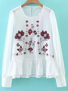 White Flower Embroidery Ruffle Hem Blouse
