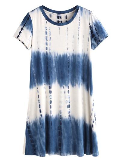 Navy Tie Dye Print Short Sleeve Tee Dress