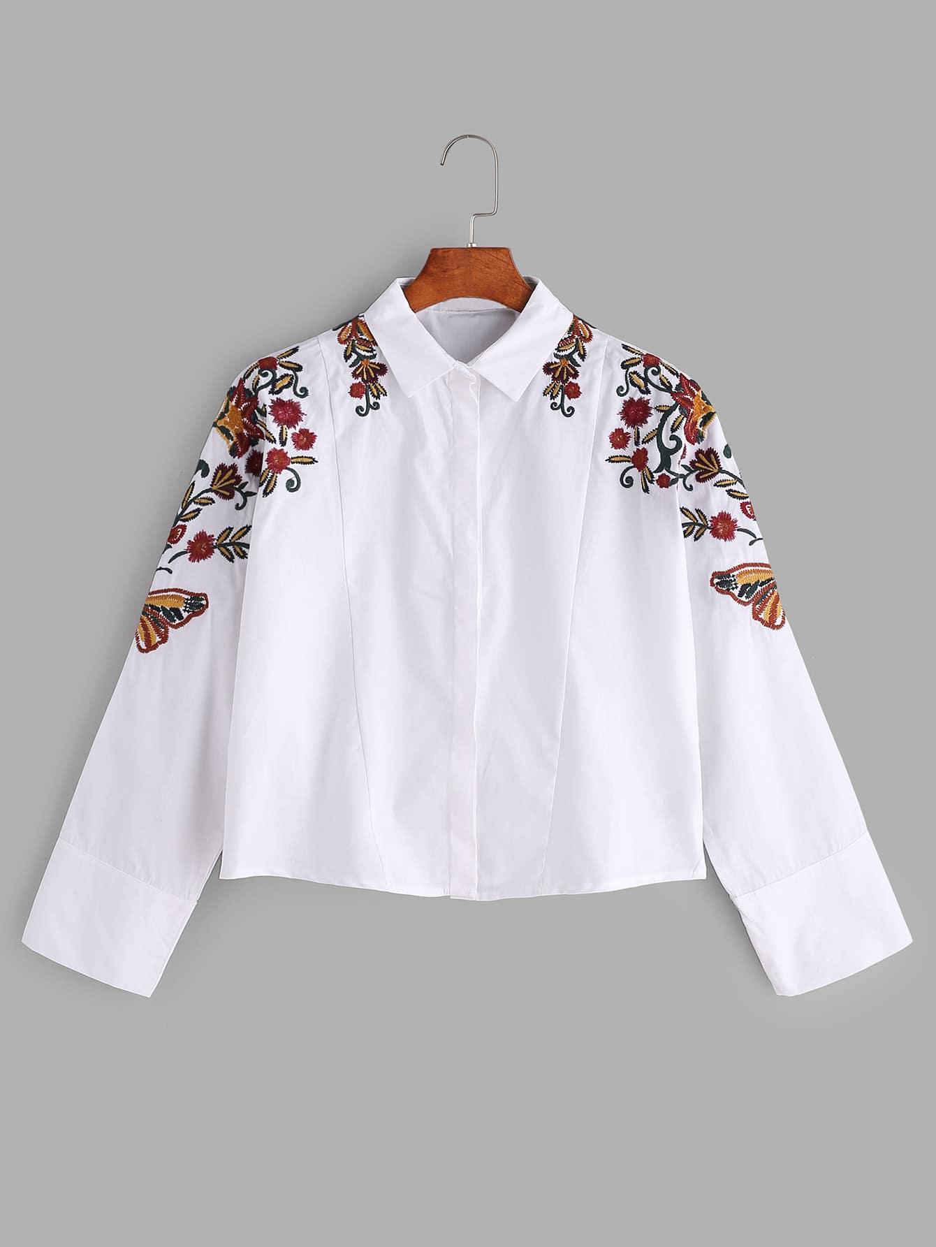 White flower embroidered shirt shein sheinside