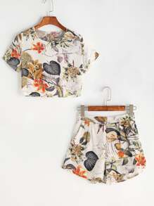 Stampa Tropical Keyhole Back Top con pantaloncini