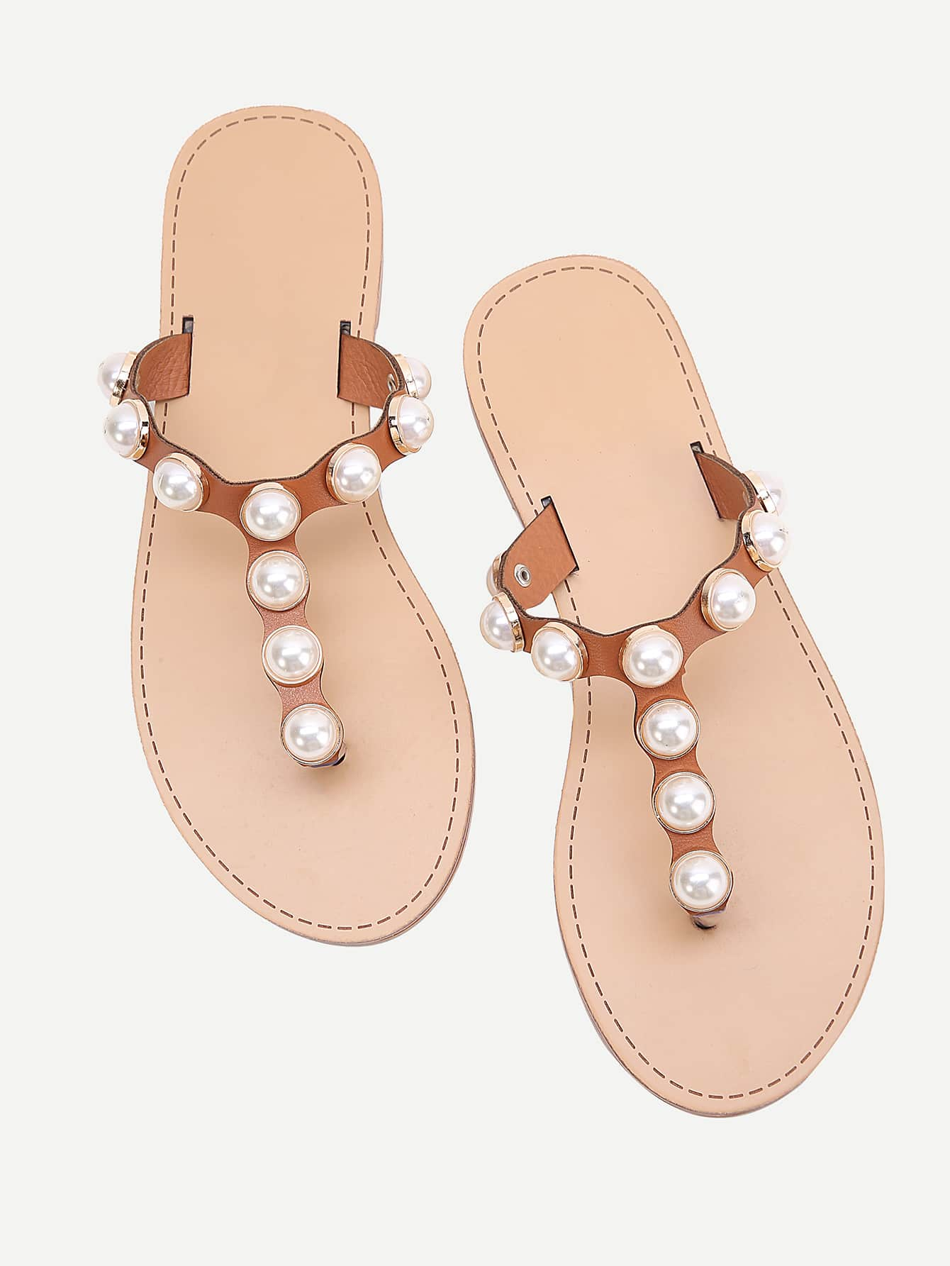 Фото Faux Pearl Design Toe Post Slide Sandals. Купить с доставкой