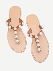 Faux Pearl Design Toe Post Slide Sandals