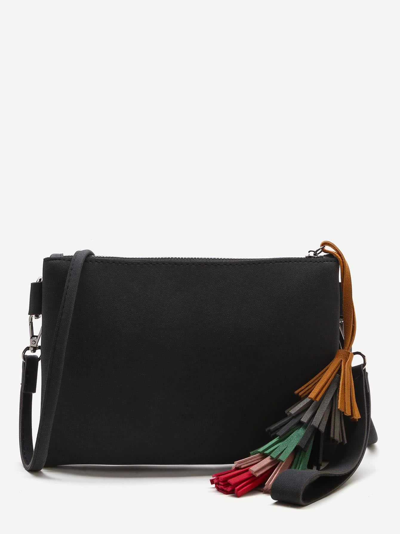Фото Black Tassel Detail Clutch Bag With Strap. Купить с доставкой