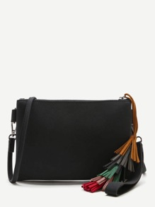 Black Tassel Detail Clutch Bag With Strap