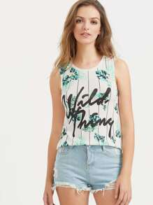 Tropical Print Slim Fit Tank Top