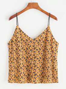Floral Print V Neck Cami Top
