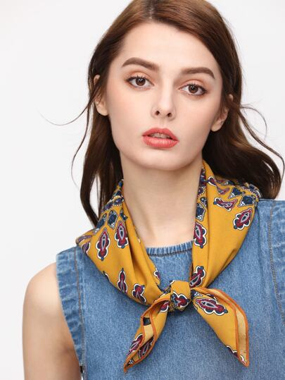 Yellow Sunflower Print Square Scarf