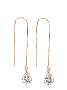 Gold Rhinestone Leaf Drop Earrings