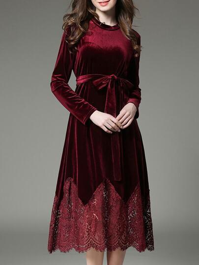Burgundy Tie-Waist Velvet Contrast Lace Dress