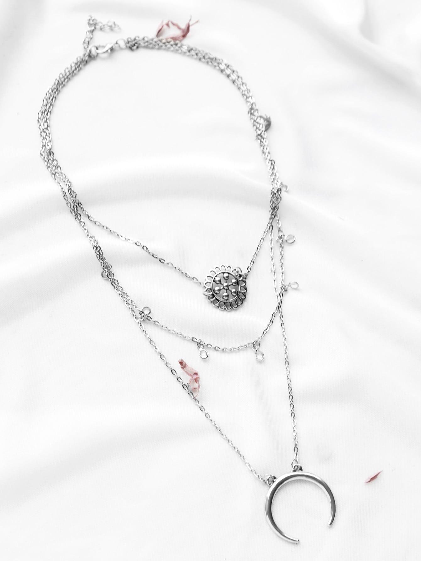 Silver Layered Pendant Boho Necklace
