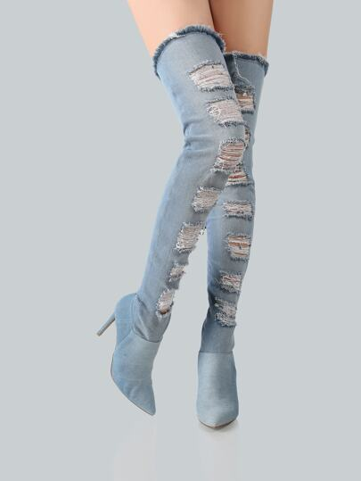 Light Washed Distressed Thigh High Boots DENIM