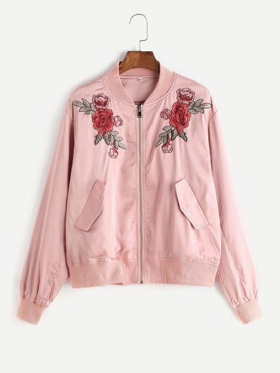 Pink Embroidered Rose Applique Zip Up Bomber Jacket