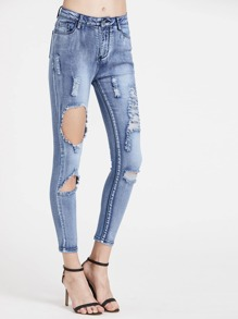 Bleach Wash Cropped Distressed Jeans