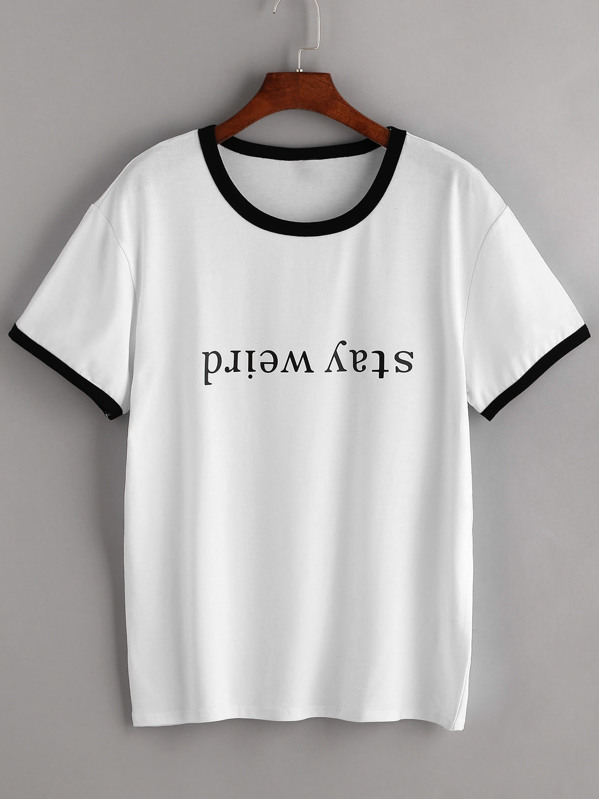 Contrast Trim Letter Print Tee, null