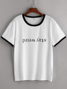 Contrast Trim Letter Print Tee