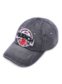 Black Letter Patch Denim Casquette de baseball