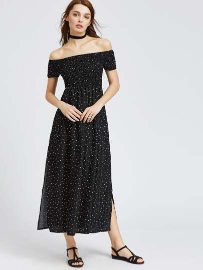 Black Polka Dot Off The Shoulder Slit Side Dress