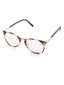 Marble Frame Metal Arm Clear Lens Glasses