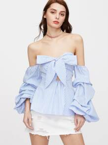 Bow Sweetheart Ruched Sleeve Striped Peplum Top