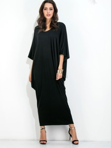 Black Dolman Sleeve Cocoon Dress