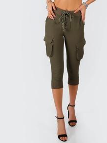 Front Tie Cargo Capri Pants OLIVE