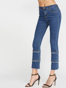 Blue Frayed Tiered Raw Hem Jeans