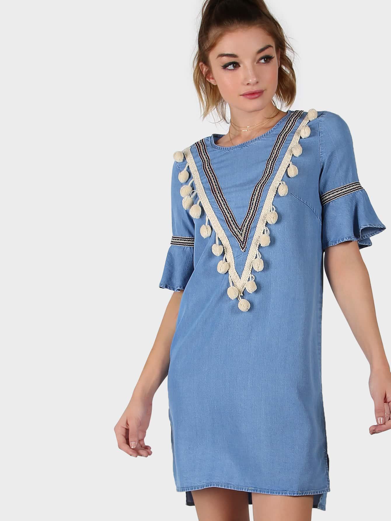 Фото Pom Pom Bell Sleeve Stepped Hem Chambray Dress. Купить с доставкой