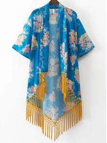 Floral Blue Print front ouvert Fringe Hem Kimono