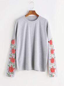 Heather Grey Florals Drop Shoulder T-shirt
