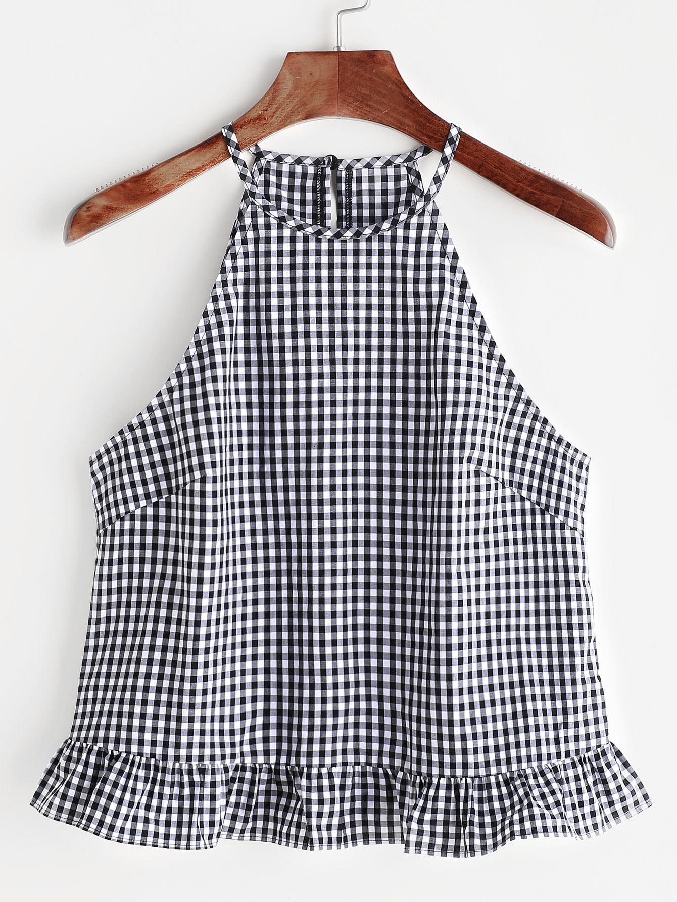 Gingham Buttoned Keyhole Back Frill Halter Top null