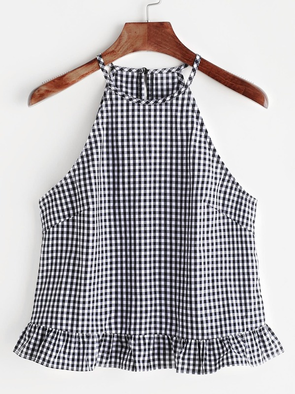Gingham Buttoned Keyhole Back Frill Halter Top, null
