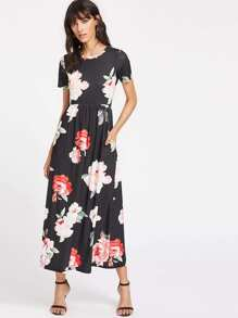 Flower Print Pocket Side High Waist Smock Dress