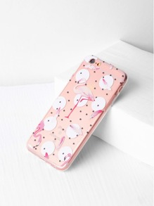 Polka Dot And Flamingo Print Clear iPhone 6/6s Case