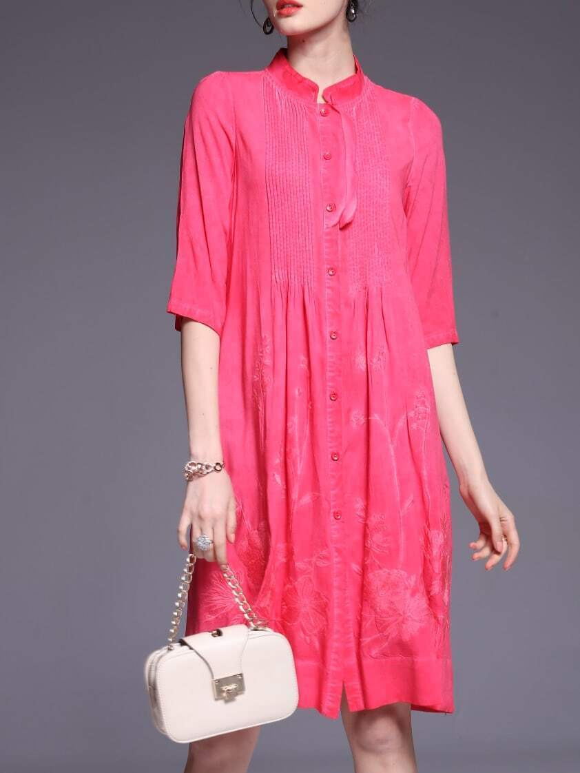 Фото Hot Pink Pleated Flowers Embroidered Dress. Купить с доставкой