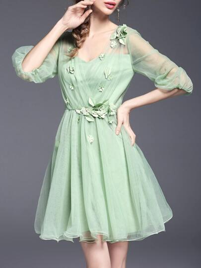 Green V Neck Flowers Applique Sheer Dress