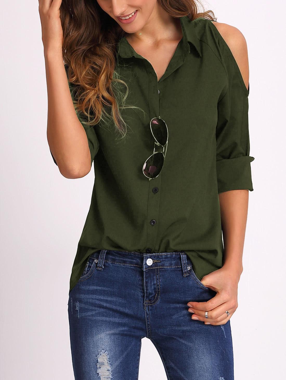 Купить Модная блуза цвета хаки с открытыми плечами, Mary, SheIn