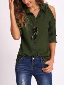 Blusa con hombro abierto - verde militar