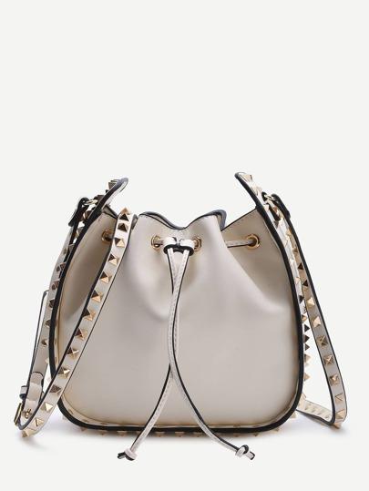 White Studded Design Drawstring PU Shoulder Bag