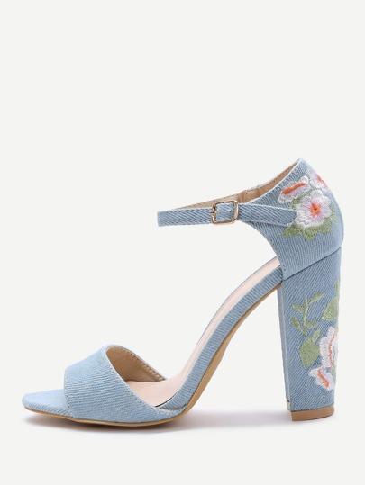 Blue Flower Embroidery Chunky Heel Sandals