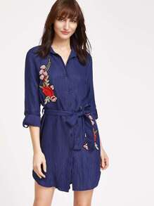 Rose Patch Detail Belted Shirt Dress