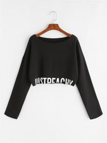 Noir, lettre, impression, baisse, épaule, culture, Sweatshirt