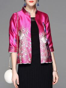 Hot Pink Peacock Embroidered Coat