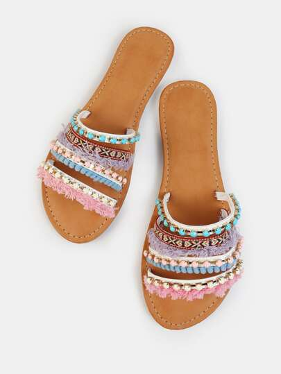 Vibrant Embellished Slides WHITE