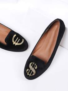 velours noir ballerines dollar.