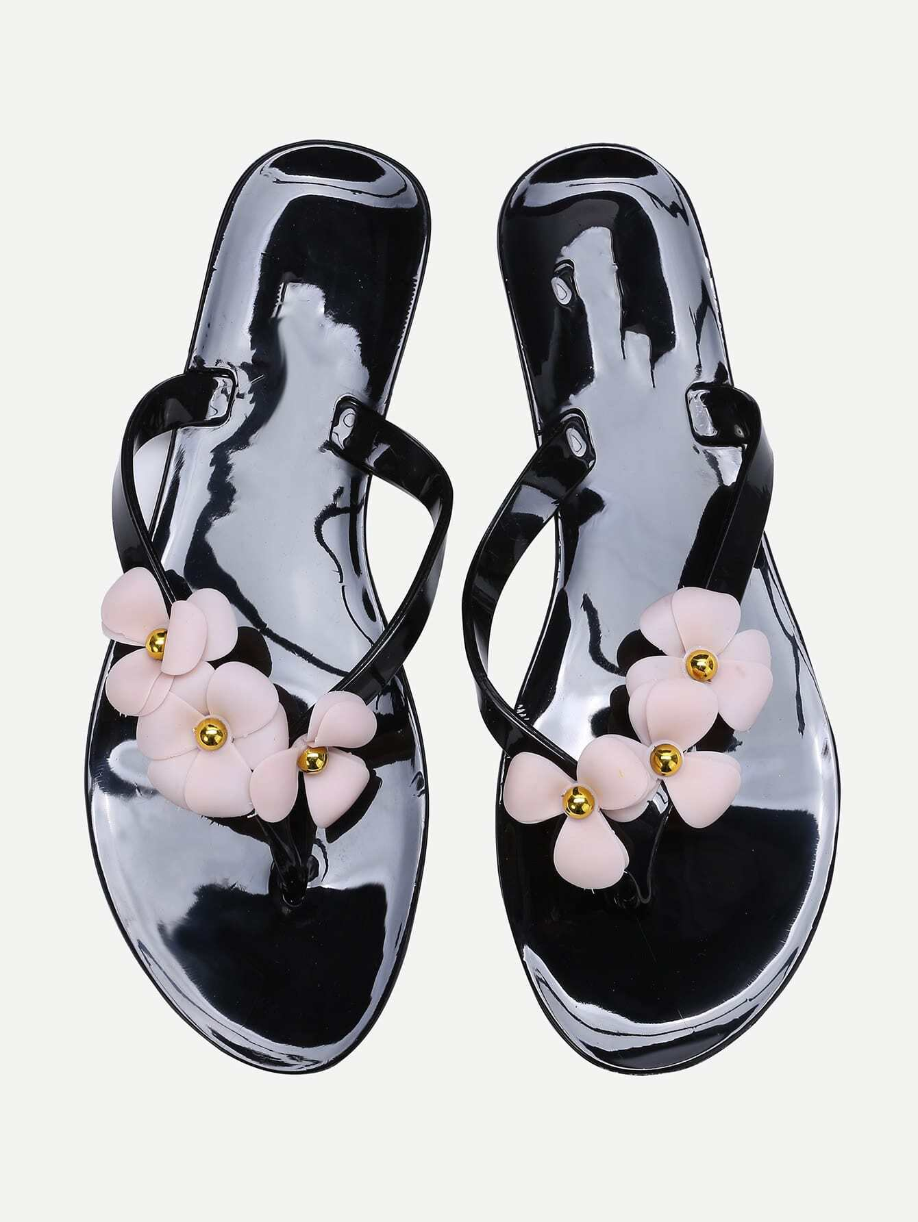 Black Flower Embellished Flip-Flops shoes170309807