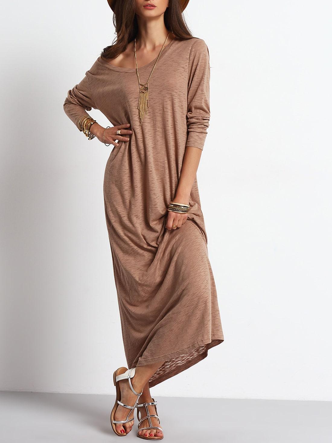 Apricot Scoop Neck Casual Maxi Dress -SheIn(Sheinside)