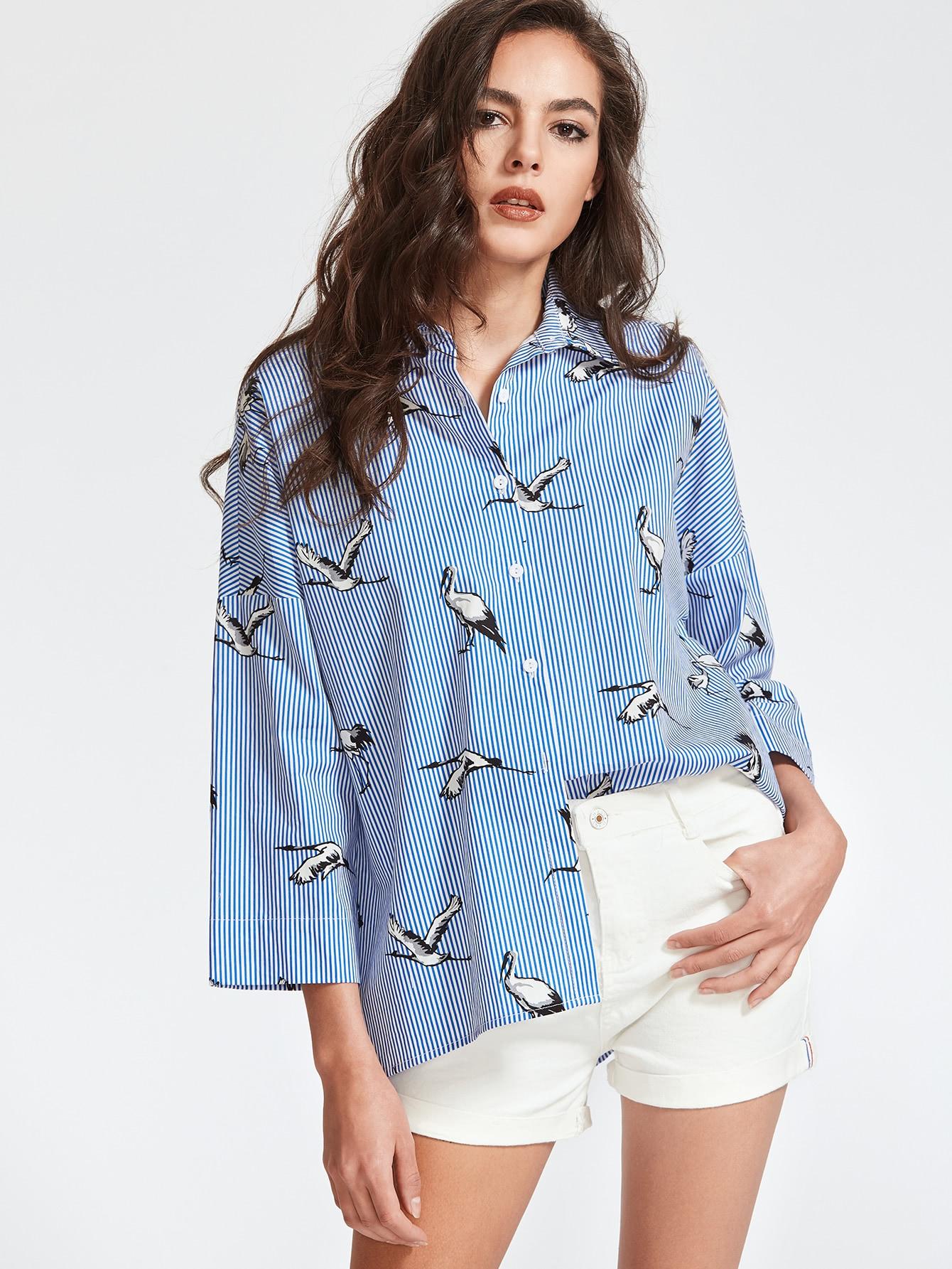 Pinstripe Crane Print Drop Shoulder Shirt two tone drop shoulder sweatshirt