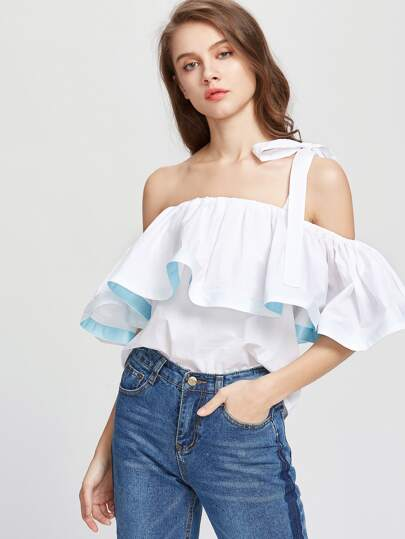 White One Strap Cold Shoulder Ruffle Top